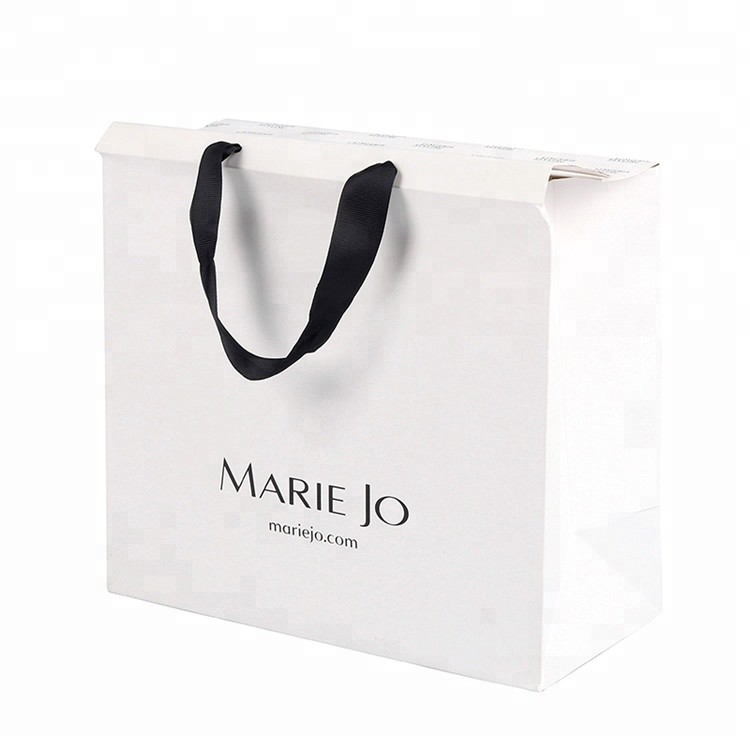 Personalized Logo Printed Fashion White Luxury Double Paper Advertising Bag