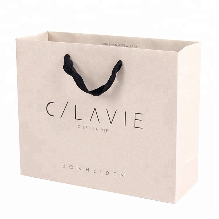 Custom Logo Recyclable Printed Resistant Advertising Clothing Shopping Packaging Paper Carry Bag With Handle
