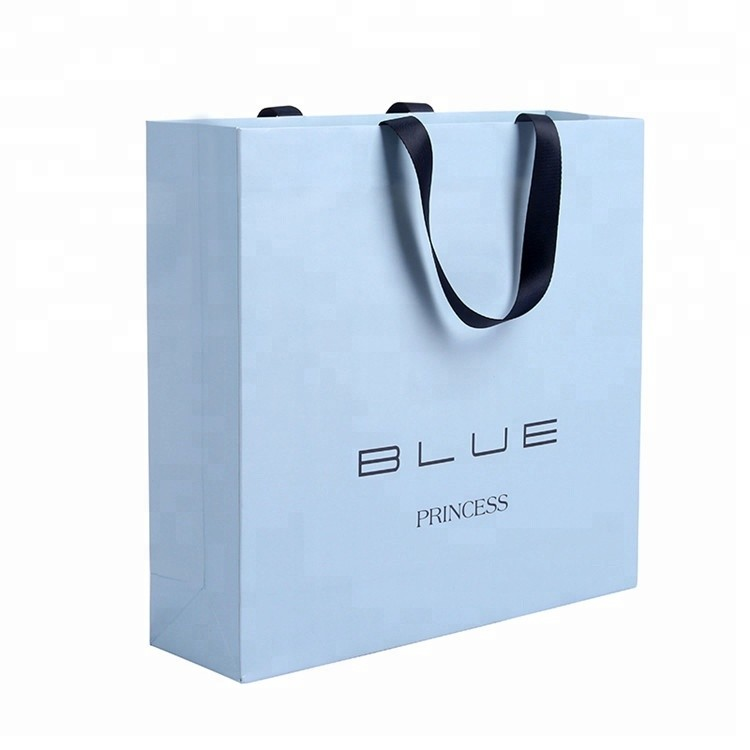 Hot Selling Blue Fashional Eco-Friendly Shopping Gift Paper Bags With Handles