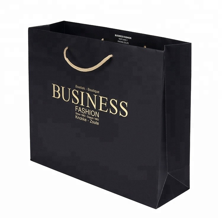 Wholesale Custom Fashional Design Printing Folding Gift Black Shopping Paper Bag
