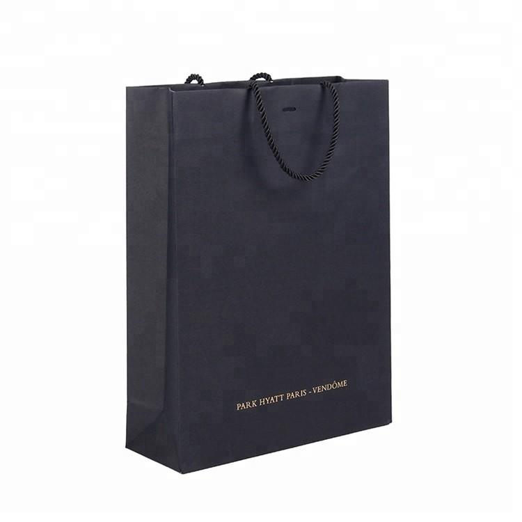 Luxury Lamination Customized Logo Foldable Printing Gift Black Shopping Paper Bag