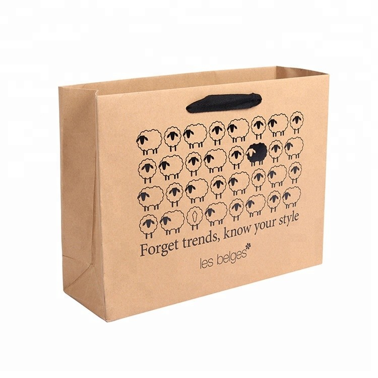 The Latest Special Design Luxury Recycled Printing Sheep Fancy Brown kraft paper bag