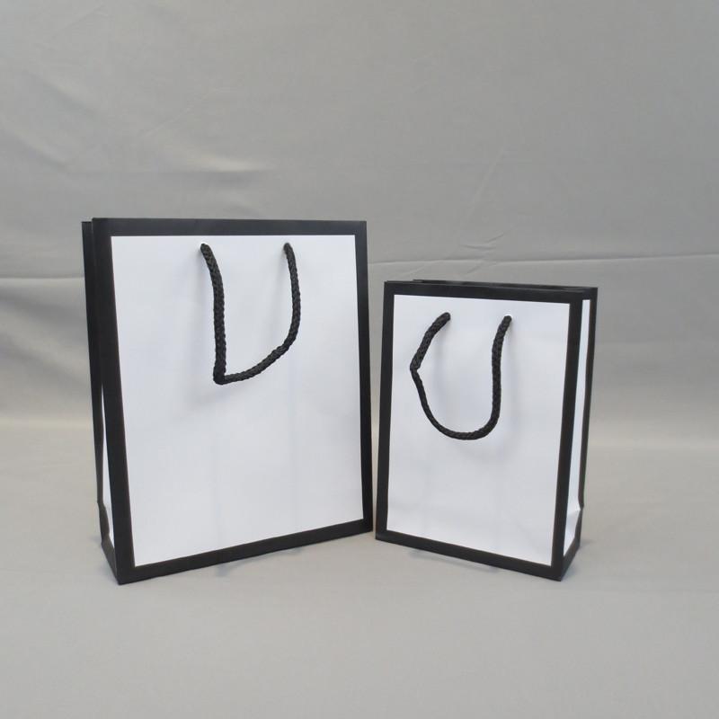 Fresh Stocks Luxury Black Edge Printing Gift Packing Paper Shopping Bags
