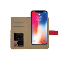 Custom Luxury Slot Card Universal Flip Leather Phone Case for iPhone x xr xs xs max
