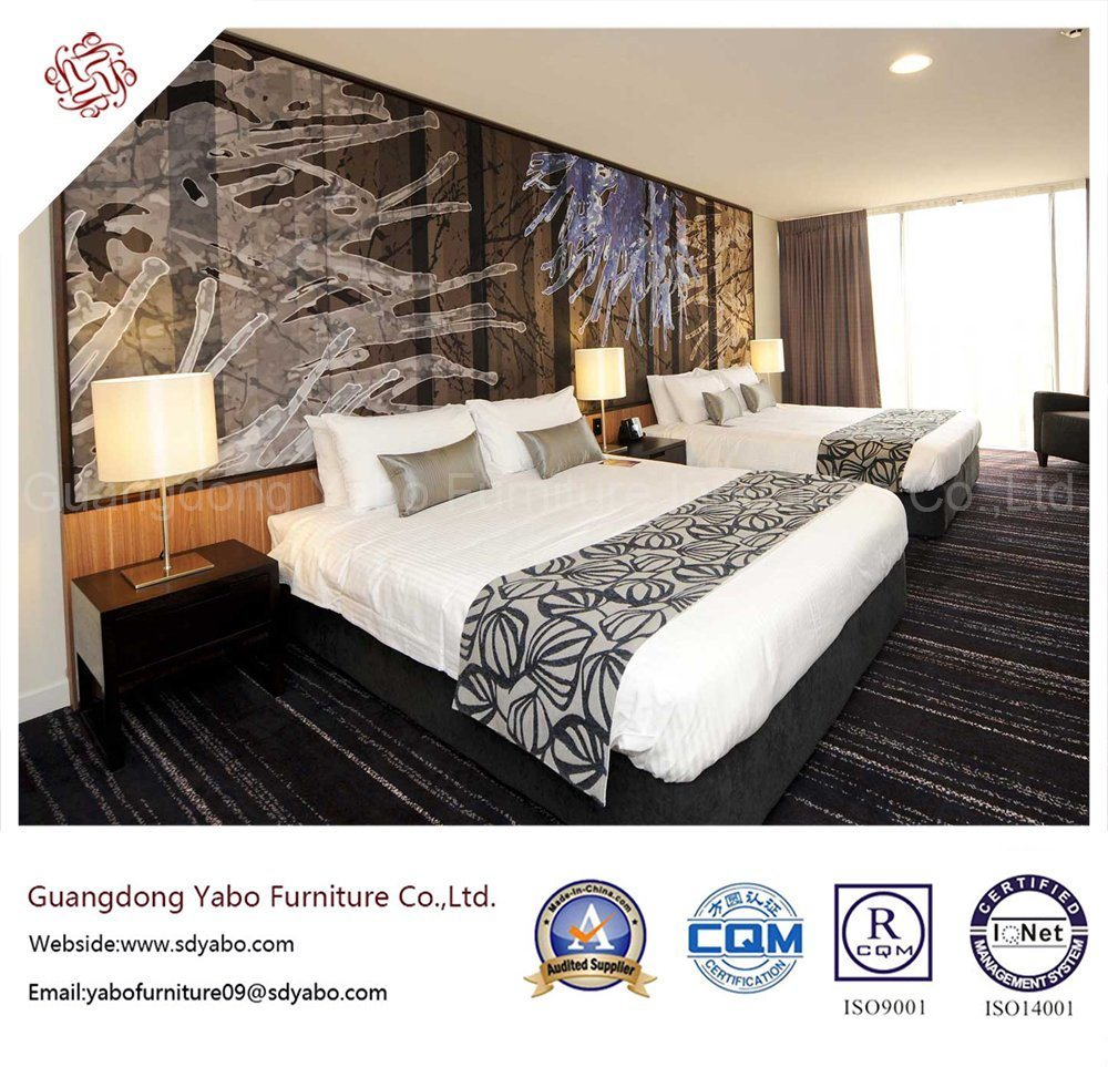 Splendid Wooden Hotel Bedroom Furniture with Double Bed (YB-H-1)