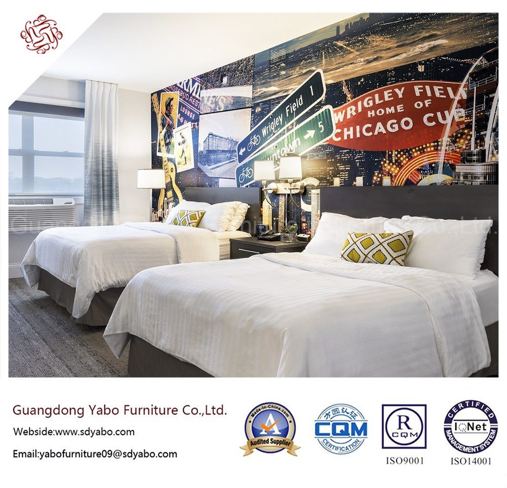 Simple Hotel Bedroom Furniture with Wooden Bed Base (YB-H-15)