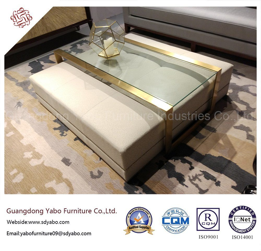 Leisure Hotel Furniture for Lobby Glass Coffee Table (YB-S-818-1)