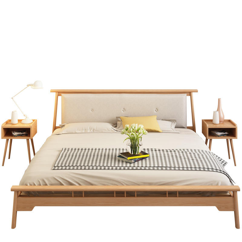 Solid Wood Twin Double Single Beds Furniture Frames Simple Design Modern Hotel Wooden Bed