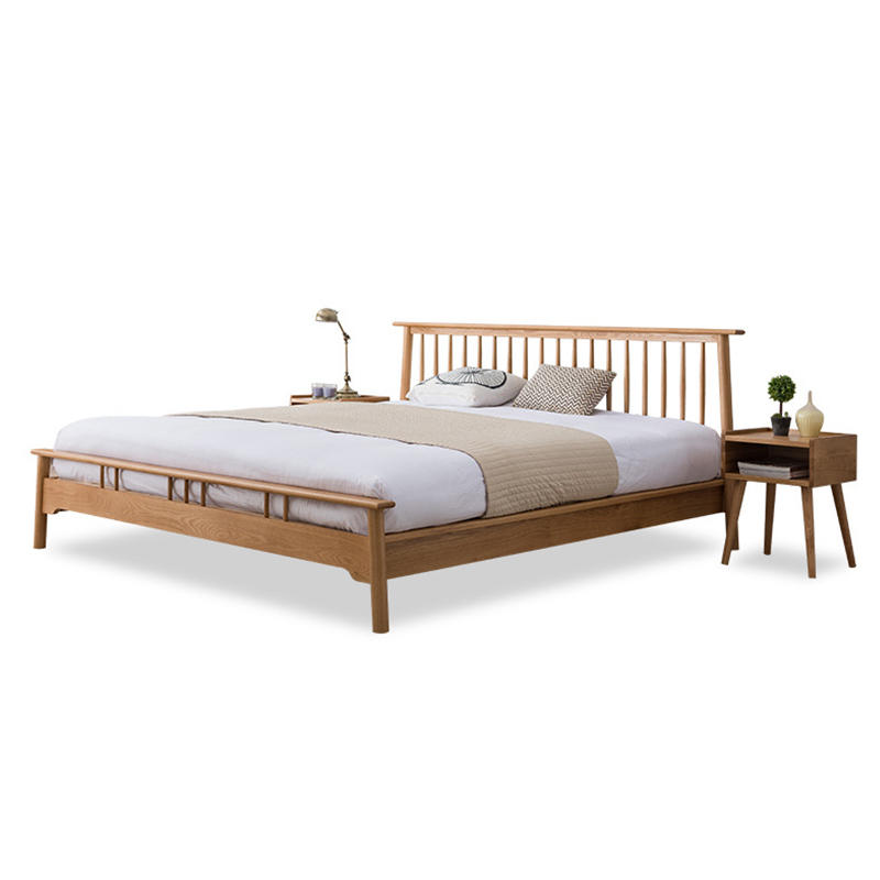 Solid Oak Wood Sleeping Bed Modern wooden Bedroom Furniture