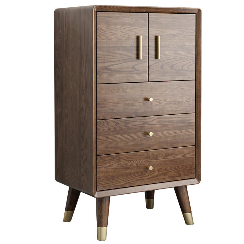 2020 Hot Sale Eco-Friendly walnut color Cheap Tall Storage Cabinet Wooden 3drawers Chest Of Drawer Design