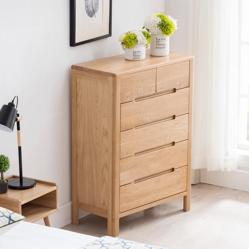 Bedroom cabinet solid wood chest of 6 drawers wooden large storage dresser latest designs for living dining room general use new