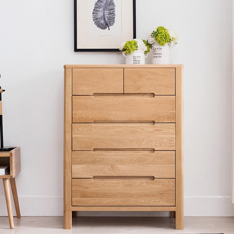 Hot saling High Quality New design european two color optional fair price chest of drawers oak bedroom furniture