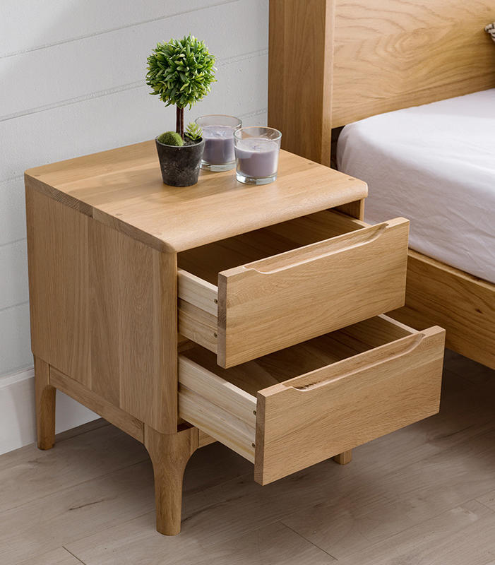 2020 new design High quality wooden bedroom furniture bedside cabinets soild wood nightstand bedside with 2 drawers