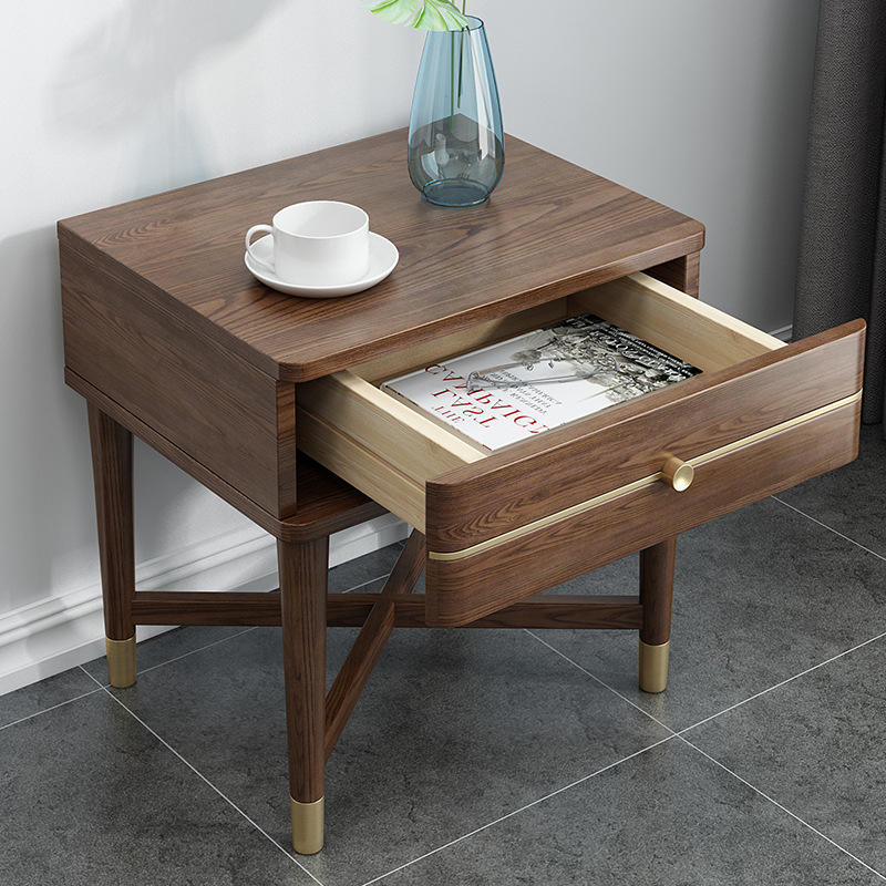 modern wooden bedside table nightstands newly listing latest dark color movable creative wholesale retail best selling