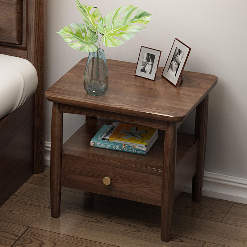 China supplier manufacturer factory solid wood nightstand bedside table durable storage with show place and drawer ash wood