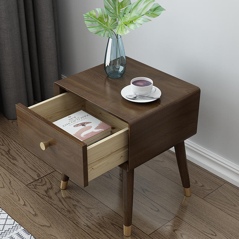 customize bedside table wood nightstand bedroom for sale cheap dark home hotel bedroom furniture Luxury natural popular idividua