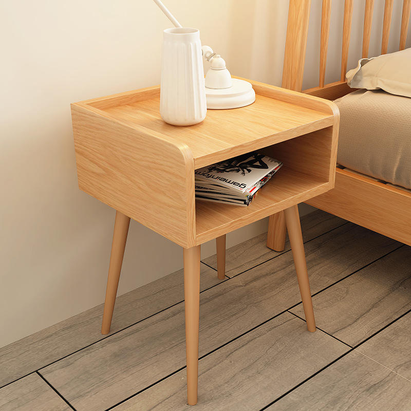 bedside cabinet bedroom wood nightstand best selling 2-drawer modern in black high quality low price made of custom home use