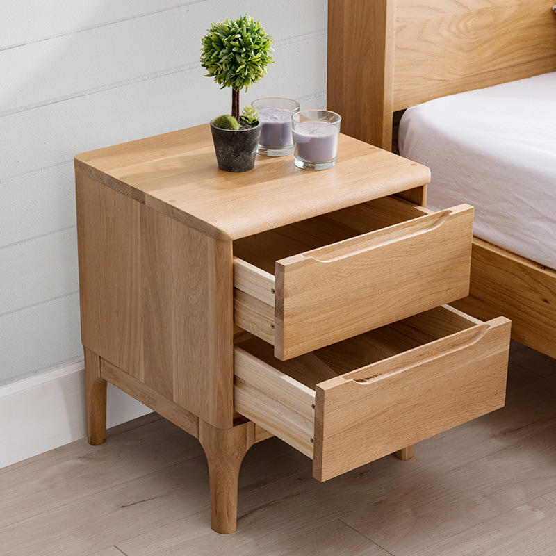 customize bedside table wood nightstand bedroom cherry wood best selling white morden simple with 2 drawer walnut latest design