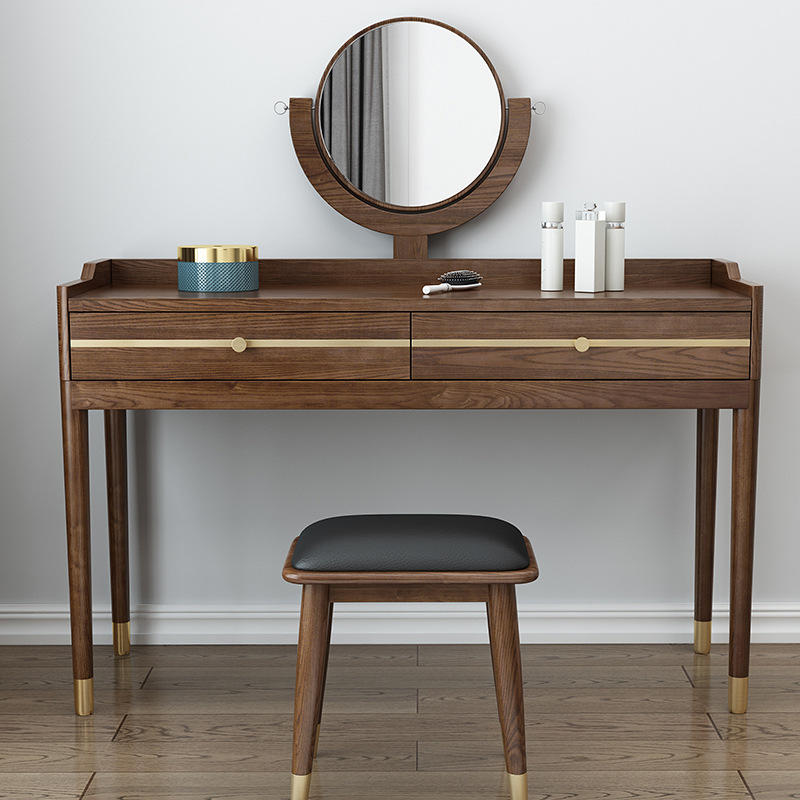 Multifunctional european style 100% solid wooden dresser with mirror environmental friendly home furniture