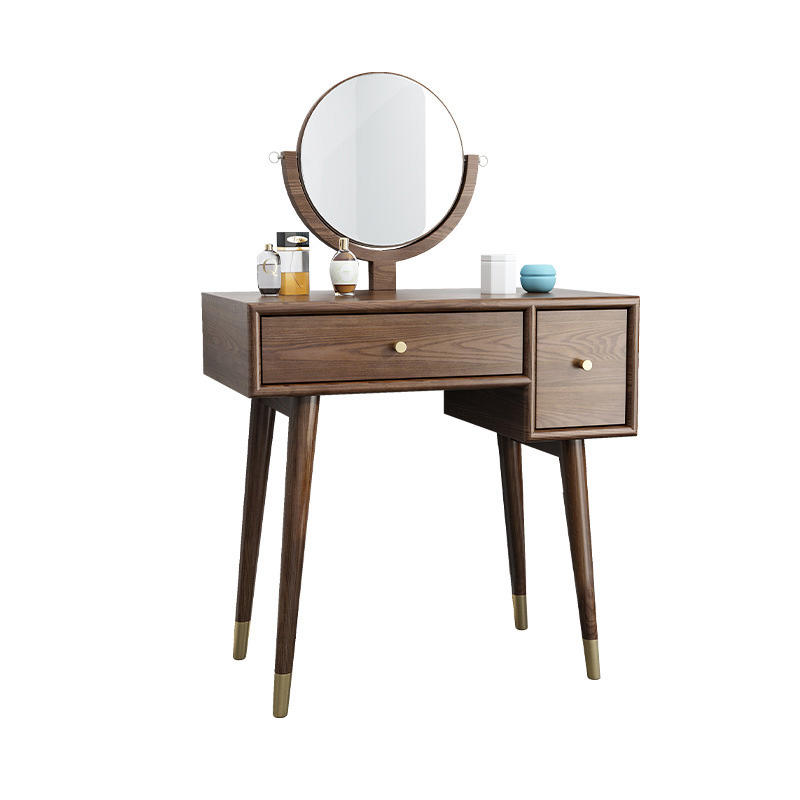 Bedroom furniture popular long use life novel design modern copper feet solid wood dressing table with mirror and 2 drawers