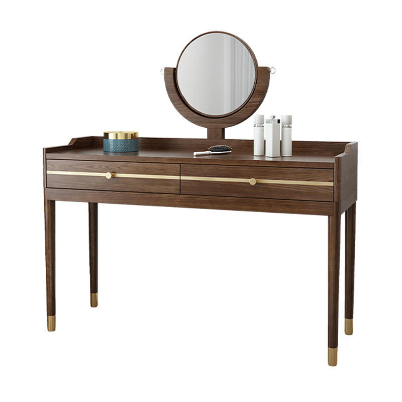 2020 Wholesale Modern hot sellingsoild Wooden Bedroom Cupboard Dressing Table with Copper foot and Circular mirror