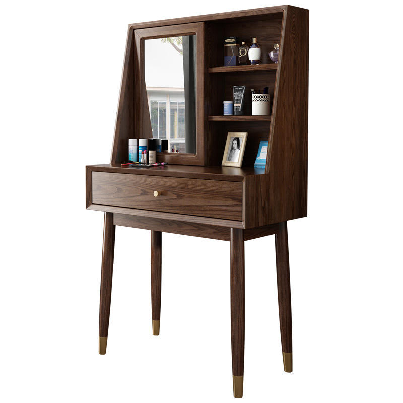 storage walnut color white ash useful individuality design new listing copper feet solid wood dressing table with mirror