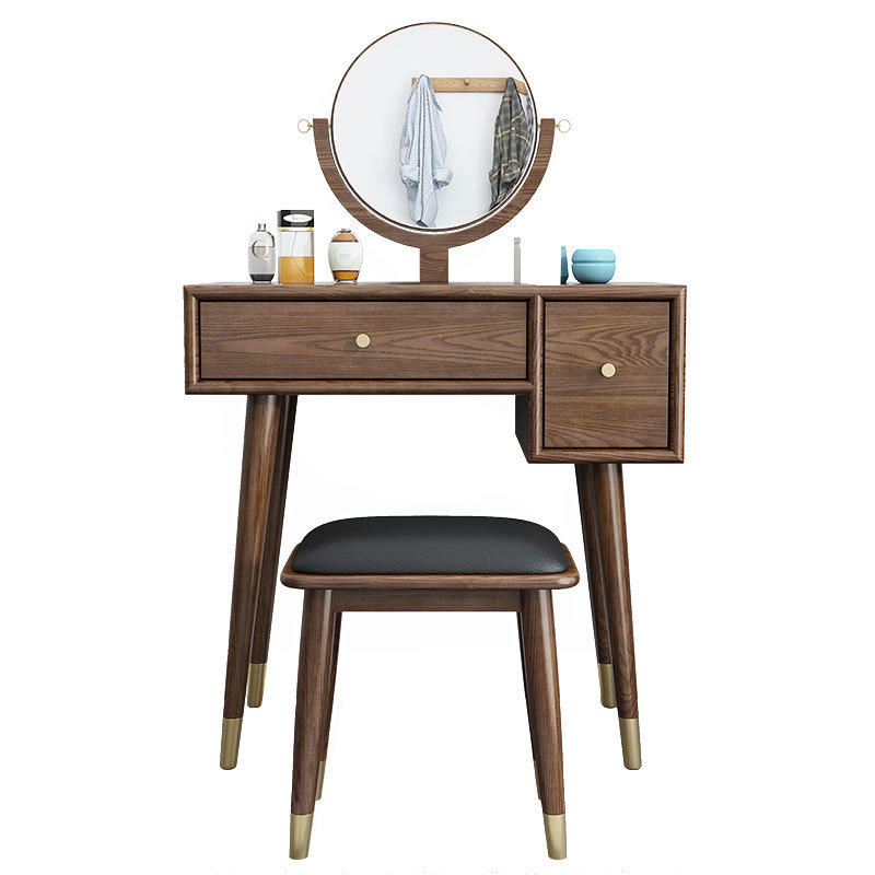 Custom Modern Bedroom Makeup soild Wooden wax oil dressing table with a circular mirror directly sold by Chinese manufacturers