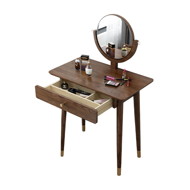 Home furniture special offer modern stylish simple fashionable high quality copper feet solid wood dressing table with mirror