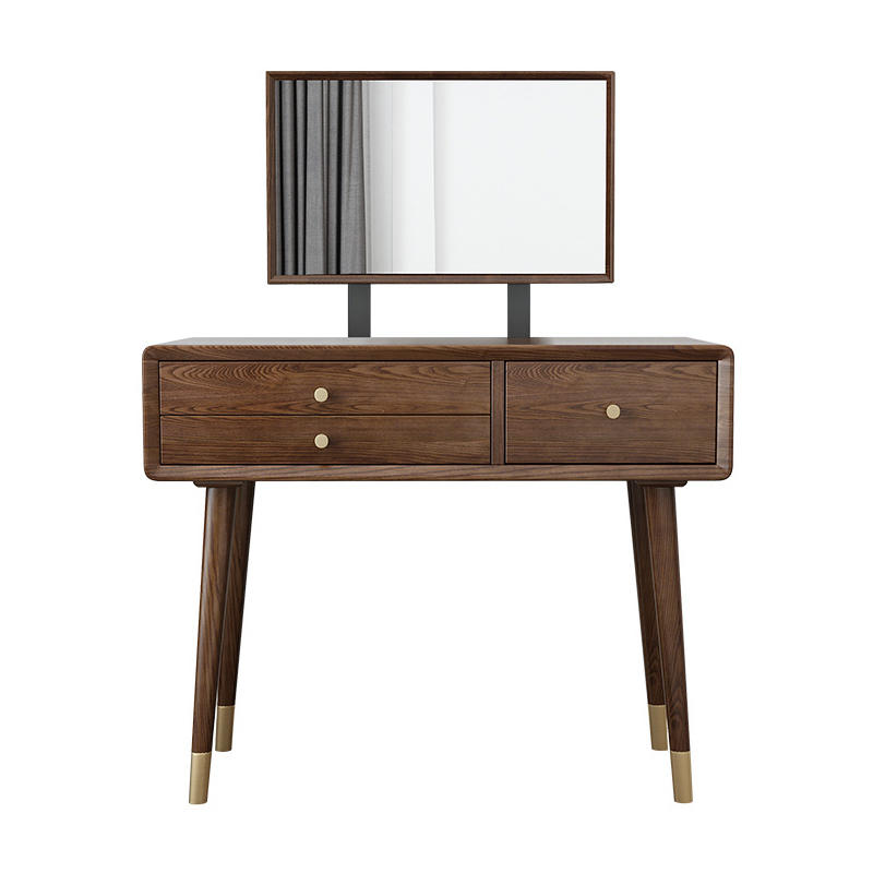 Factory direct sales good price net red walnut color white ash high-end copper feet solid wood dressing table with mirror