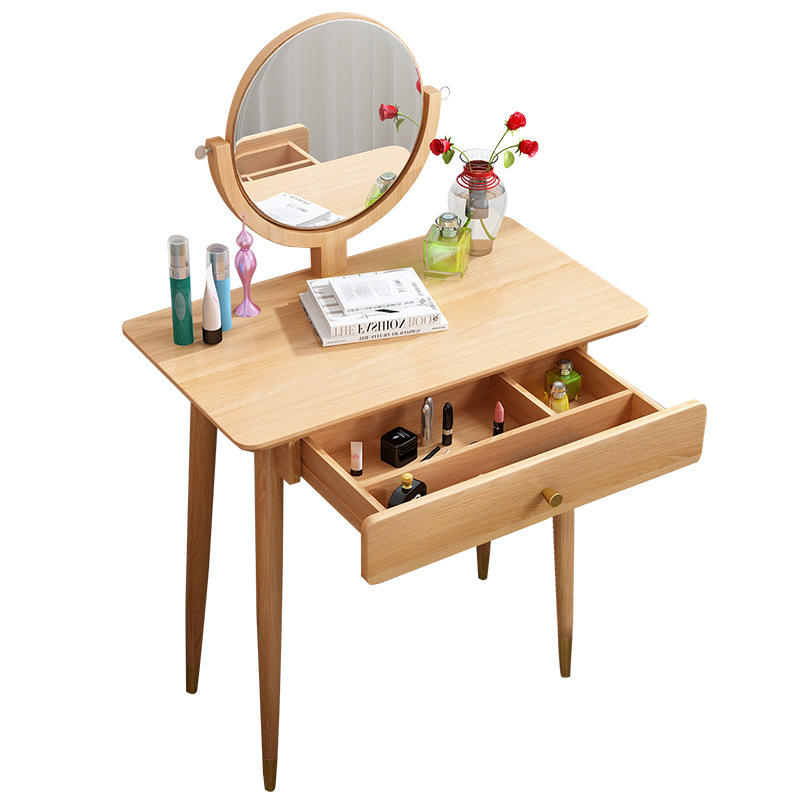 Bedroom furniture factory price wood color newest design literary stylish storage strong solid wood dressing table with mirror