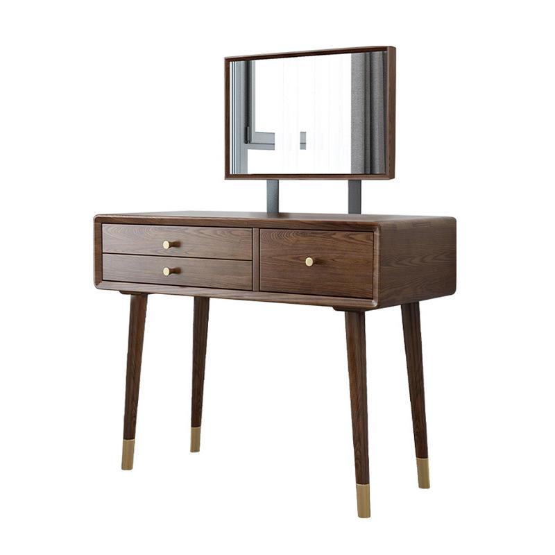 European Design Big LargeDressing Table soild Wood Makeup Desks Blue With Mirror white ash Leg With Drawers