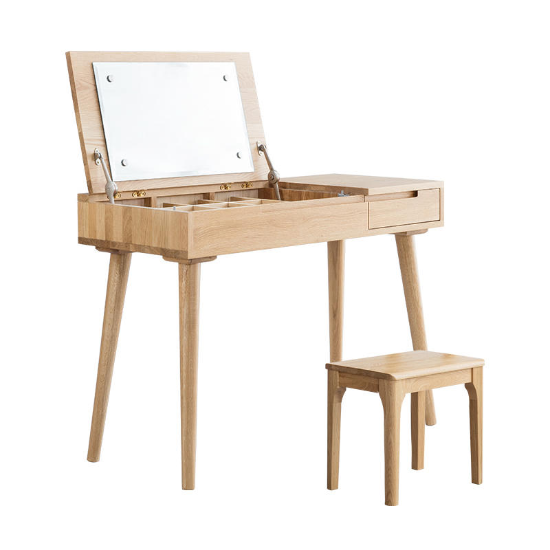 2020 factory hot wholesale modern Nordic style New Luxury Collapsible solid wooden dressing table with mirror
