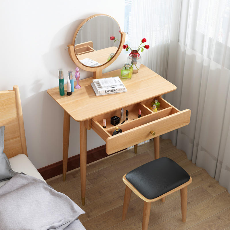 Mirror Wood Mirrored Solid Teak Modern Wooden Furniture Makeup Suppliers Dressing Table Oak