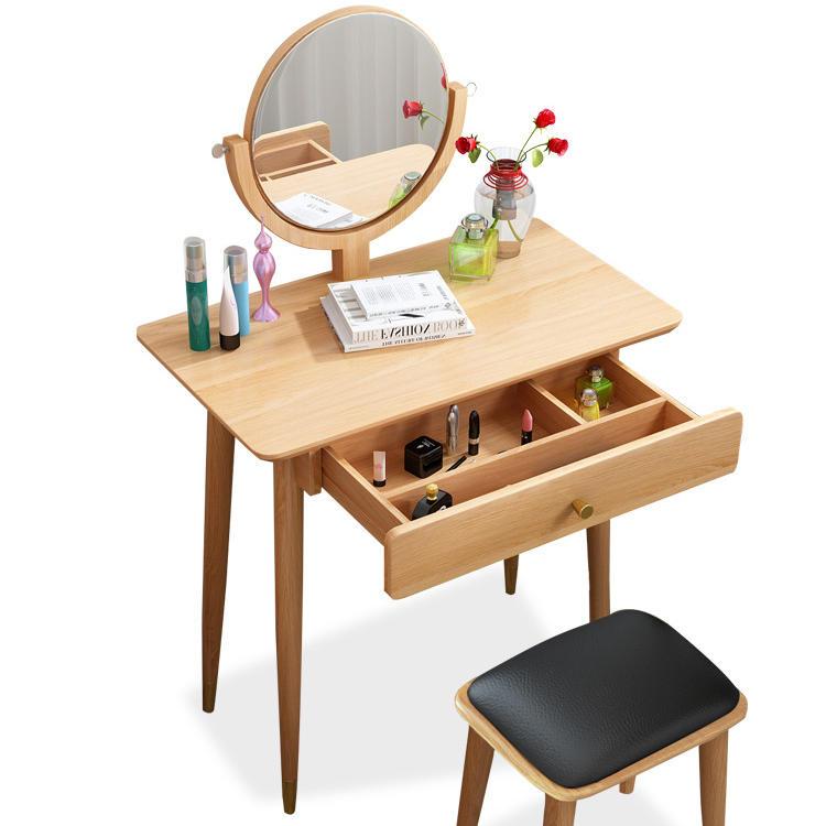 Fancy Mirrors Led Classic Drawers Glass Modern Furniture Japanese Wooden Walnut Teak Wood Nordic Dressing Table