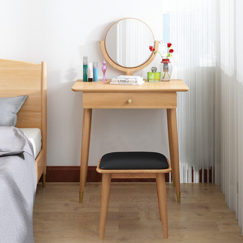 Boomdeer Antique Home Furniture Bedroom Set Wooden Dressing Table with Mirror and StoolMake Up Table