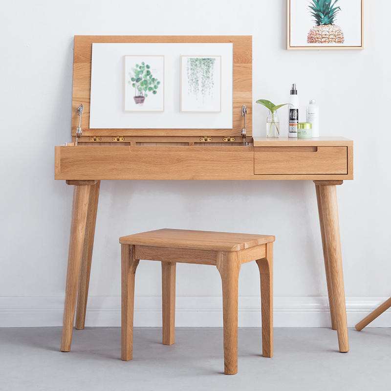 Modern Bedroom Furniture Oak wood Make Up Table Wooden Dressing Table With Mirror And Stool