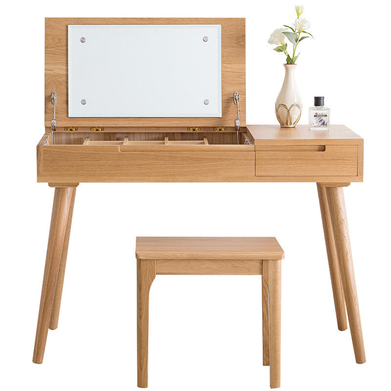 Modern Nordic Style Elegant Wooden Designs Dresser Bedroom Furniture Wood Girls Dressing Table With Mirror And Stool