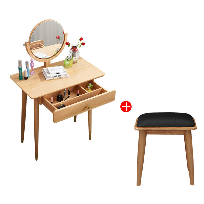 Boomdeer Europe Style Modern Mini Dressing Table with Mirror and Stool