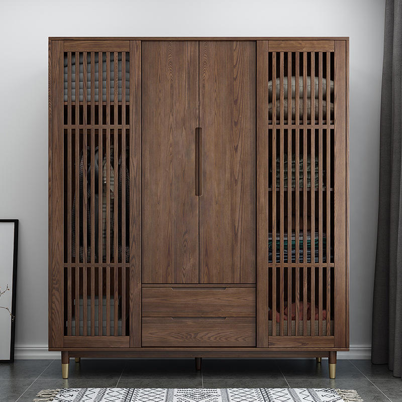 solid wood closet wardrobe with wooden hollow door drawers wholesale retail customization china fair price men durable useful