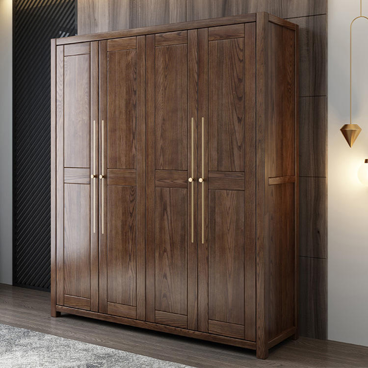 wooden-clothes-wardrobe cabinet closet bedroom furniture 4 doors hotel space saving single big lots suitcase family hostel home