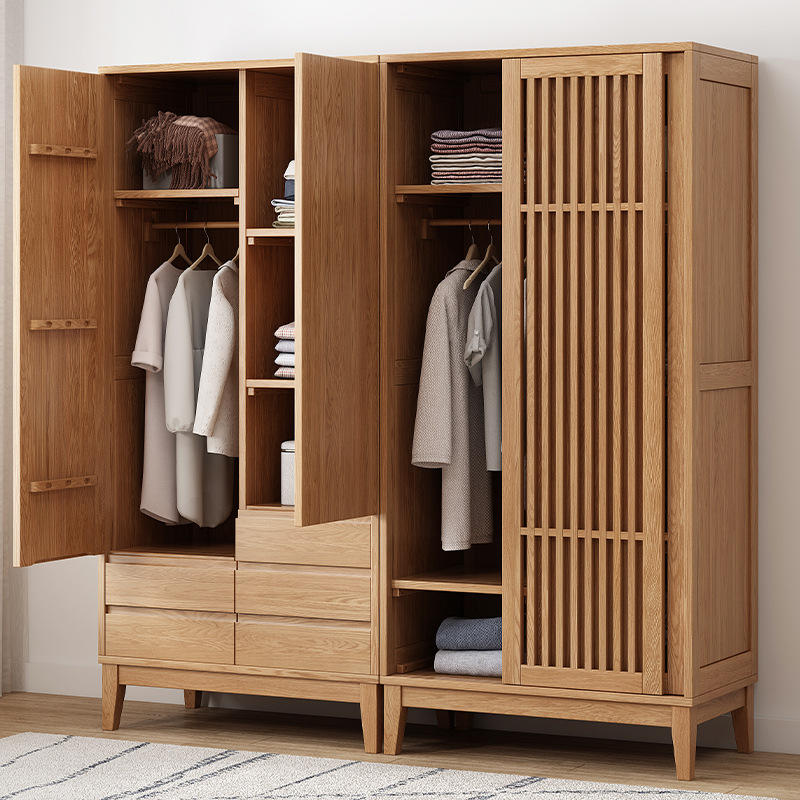 solid wood wardrobe bedroom cabinet used wooden sliding hollow door pull out solid door country style room closet made of custom