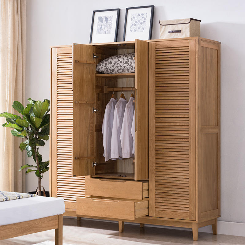 solid wood wardrobe with wooden shutters bedroom clothes cabinet colour family closet furniture fancy multifunctional design