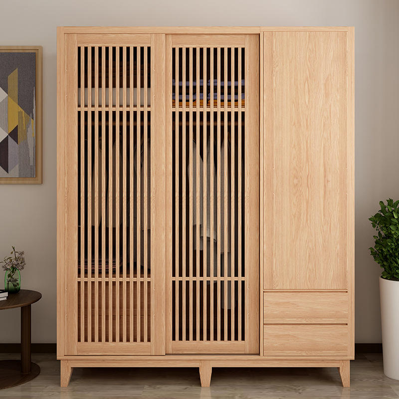 solid wood wardrobe sliding hollow door for girl made in china adult latest modern fitted detachable assemble wooden three doors