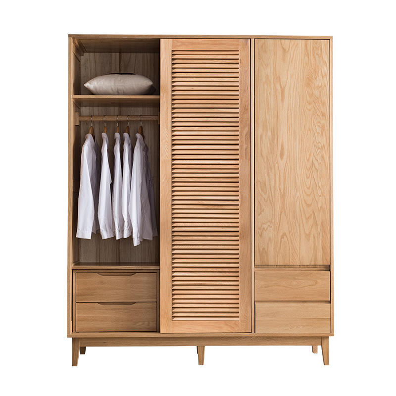 customizable creative design morden 3 door soild wood wardrobe with living cabinet or no live cabinet for the bedroom