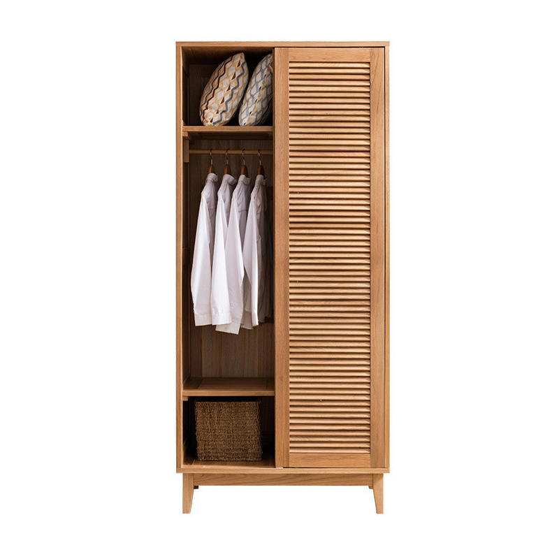 bedroom closet wood portable closet clothes wardrobe Combination of shutter door wardrobe and solid wood door wardrobe