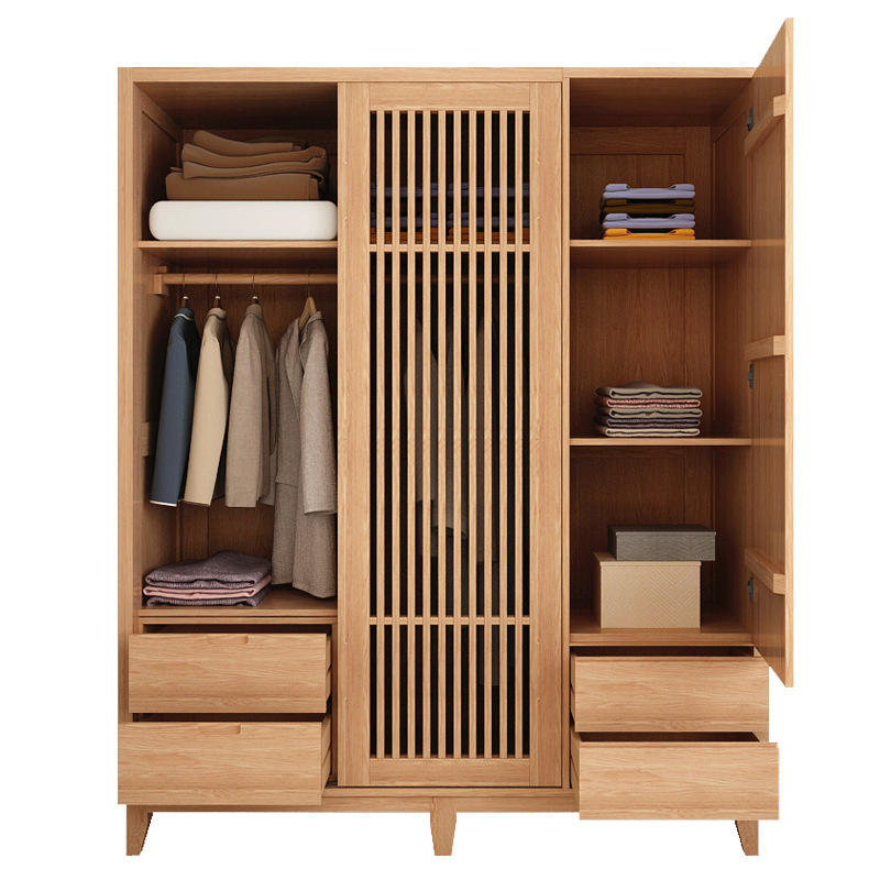 Hot sale modern OEM supported 3 doors solid wooden wardrobe contain movable cabinet clothes storage cabinet for bedroom