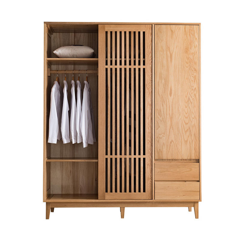 Modern OEM supported bedroom furniture 3 doors solid wooden wardrobe without movable cabinet furniture