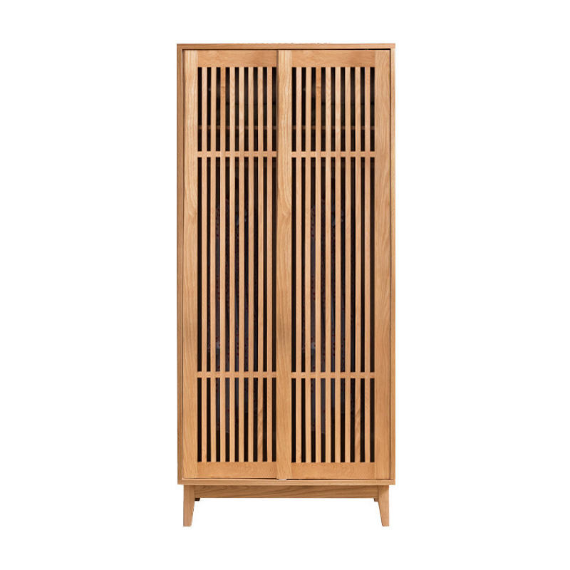 Modern OEM supported bedroom furniture solid wooden wardrobe with 2 hollow doorsclothes storage cabinet furniture