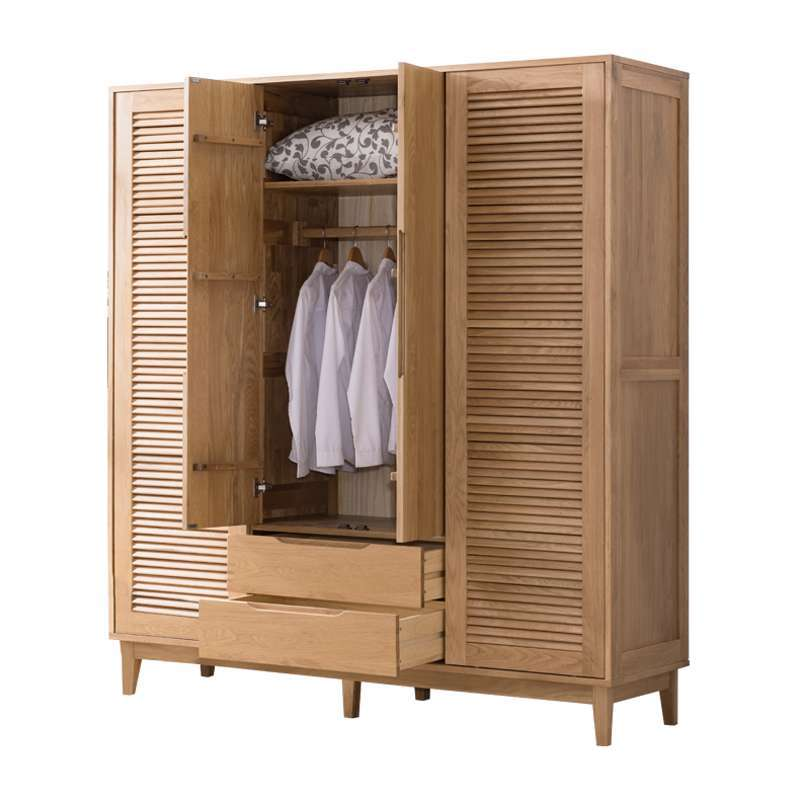 Modern customizable bedroom furniture wooden wardrobe with 4 shutter doors and 2 drawers clothes storage cabinet furniture
