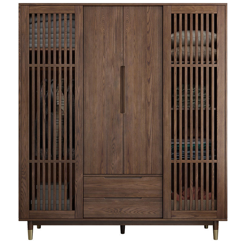 Solid wood moderncupboards and wardrobes shutter doorbedroom closet wood built in wardrobewooden cabinet